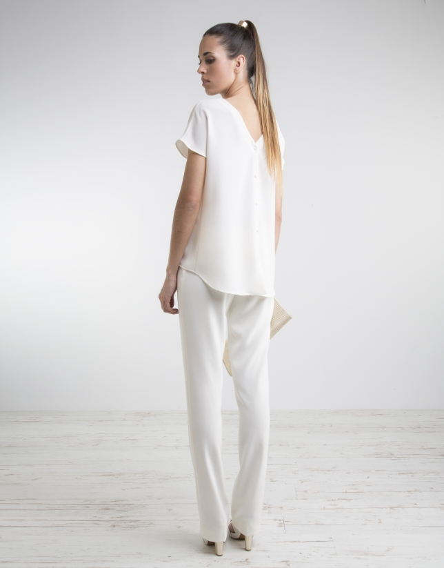 Pantalón cintura ancha crudo