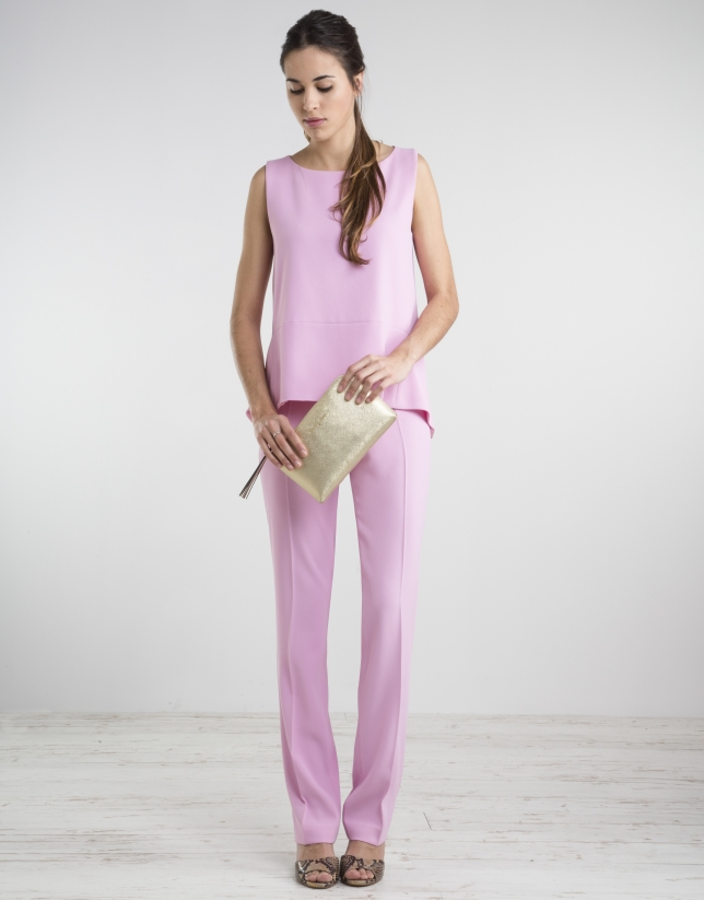 Pantalón cintura ancha rosa