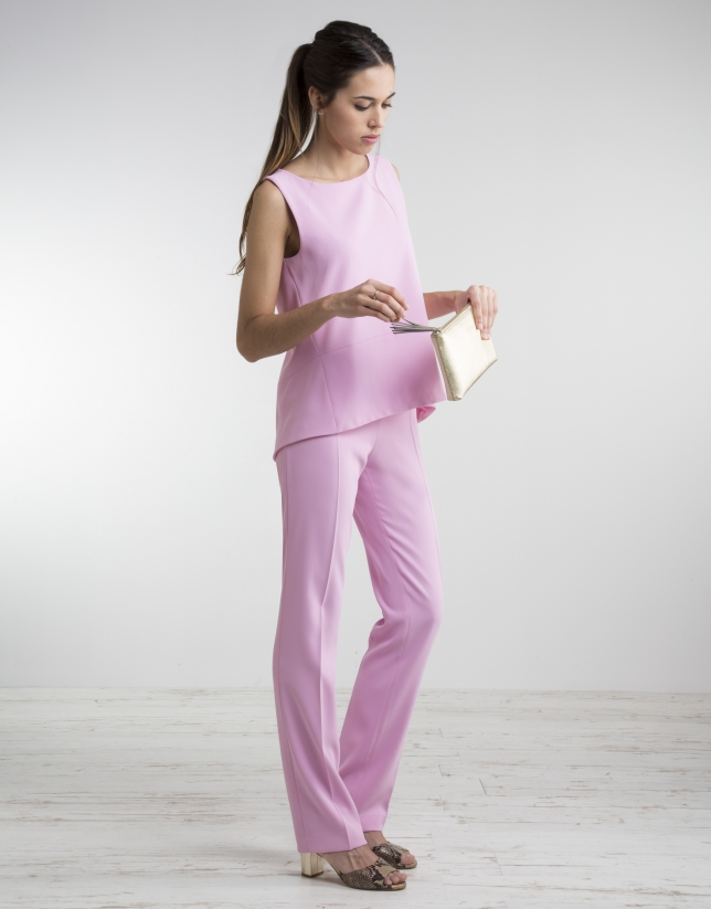 Pink pants with wide waist