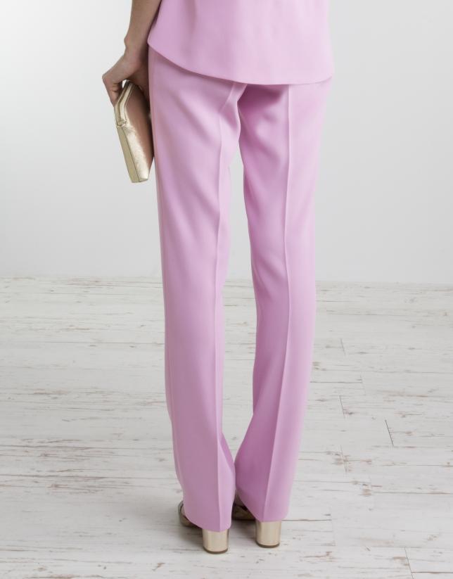 Pantalon rose taille ample pantalons femme roberto verino - Pantalon ample femme ...