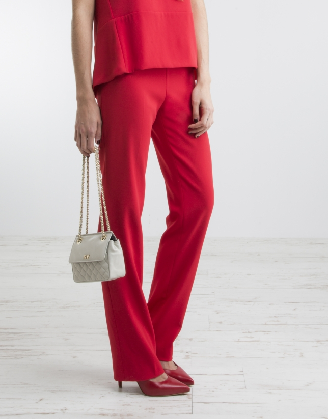 Pantalon rouge taille ample