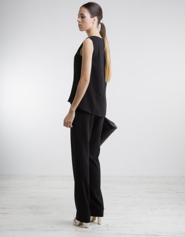 Pantalon noir taille ample