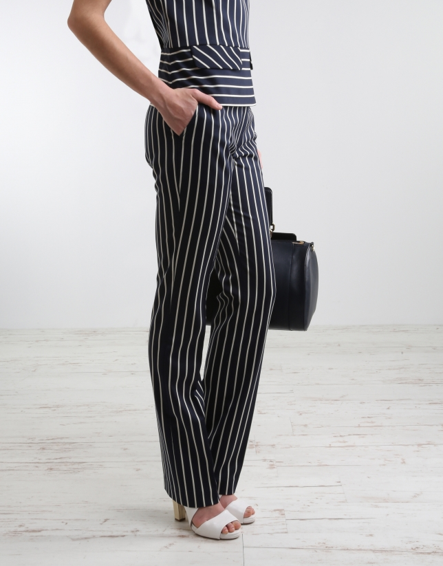 Navy blue/white striped pants