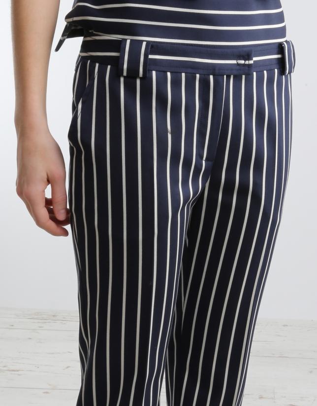 Pantalon à rayures bleu marine/blanc