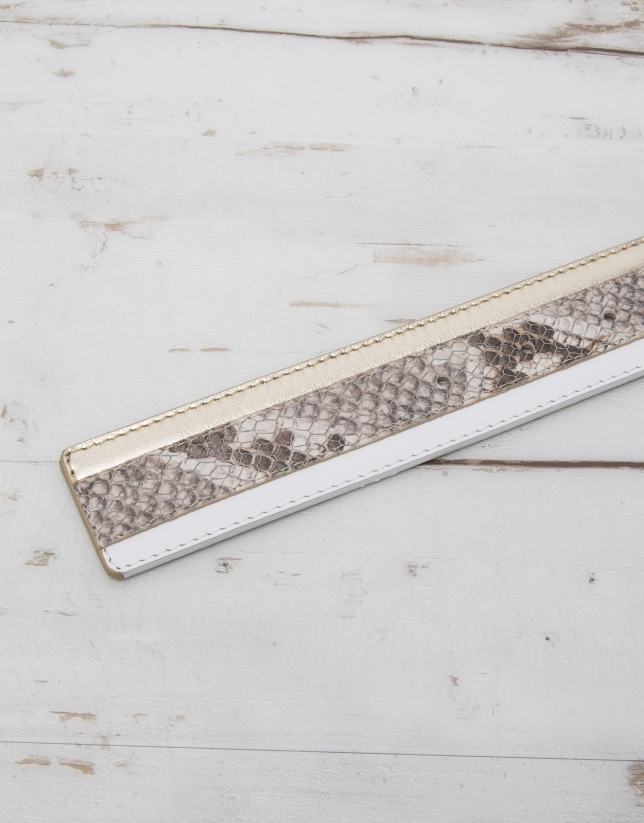 Block leather belt
