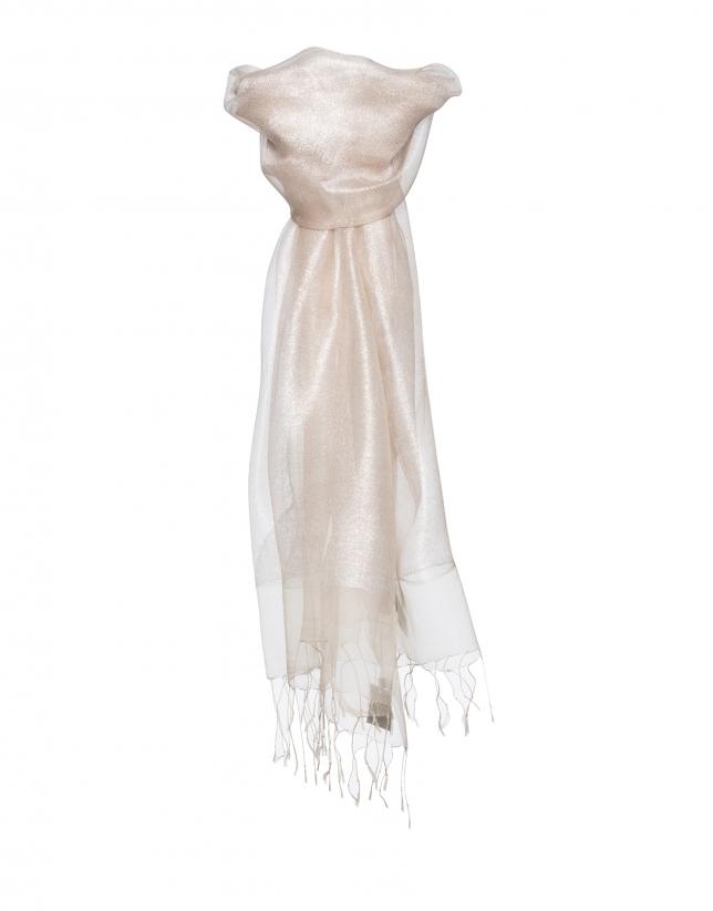 Beige lurex scarf