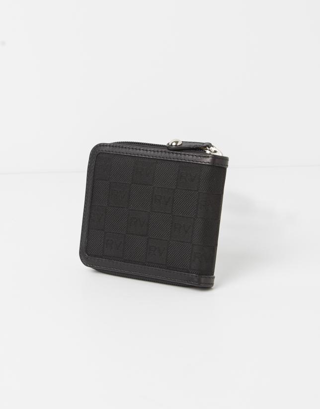 Billetera con monedero interior en jaquard negro RV