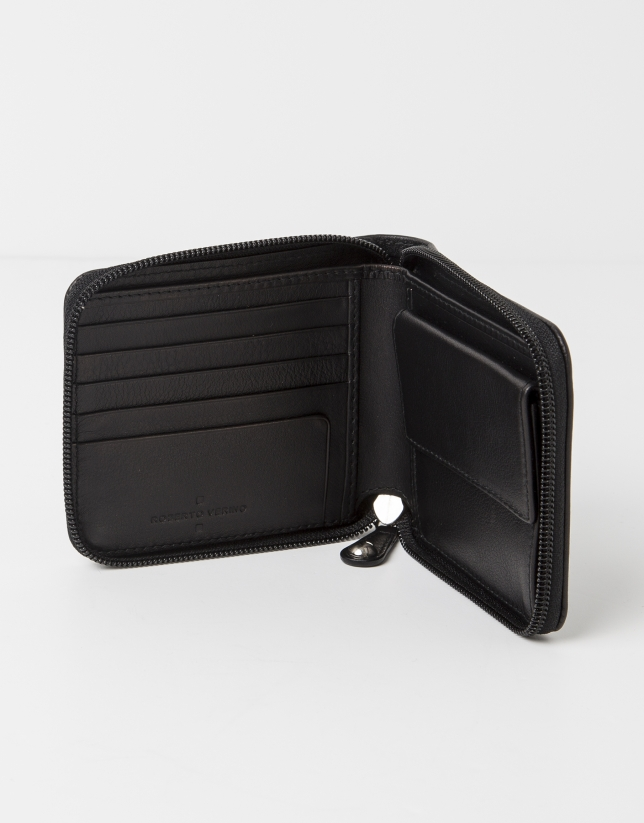 Black jaquard RV wallet with change purse inside