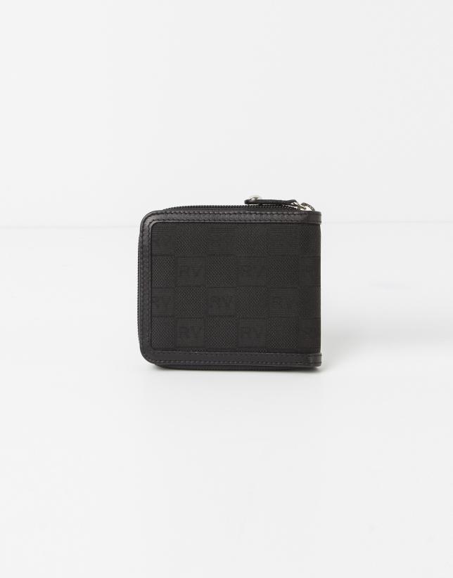 Portebillet jaquard RV noire avec monnaie intérieur