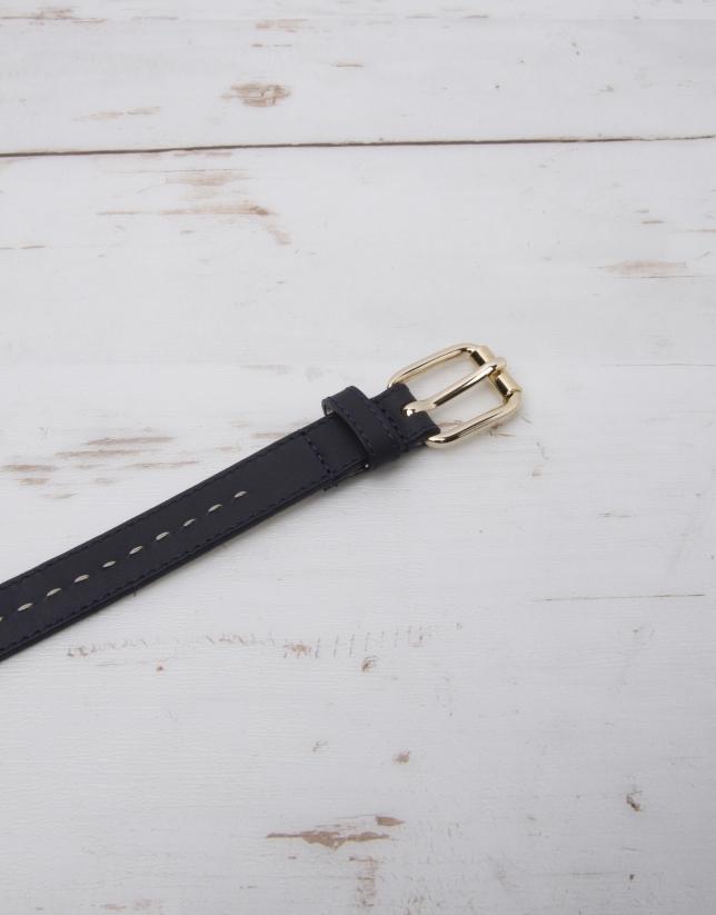 Navy blue leather belt