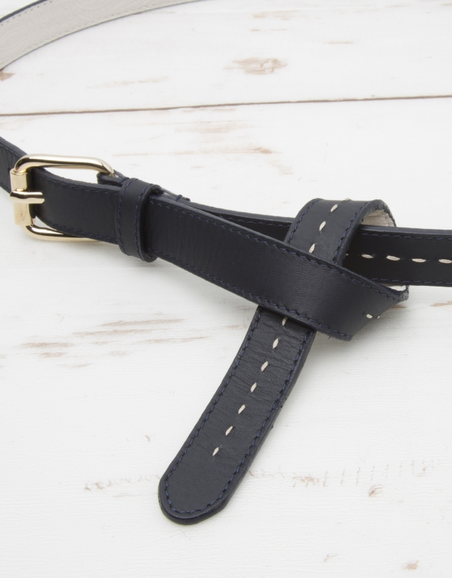 Navy blue leather belt