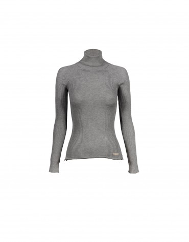 Fancy stitched roll collar grey pullover
