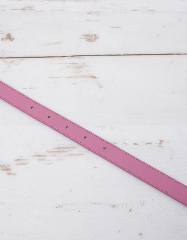 Pink leather belt