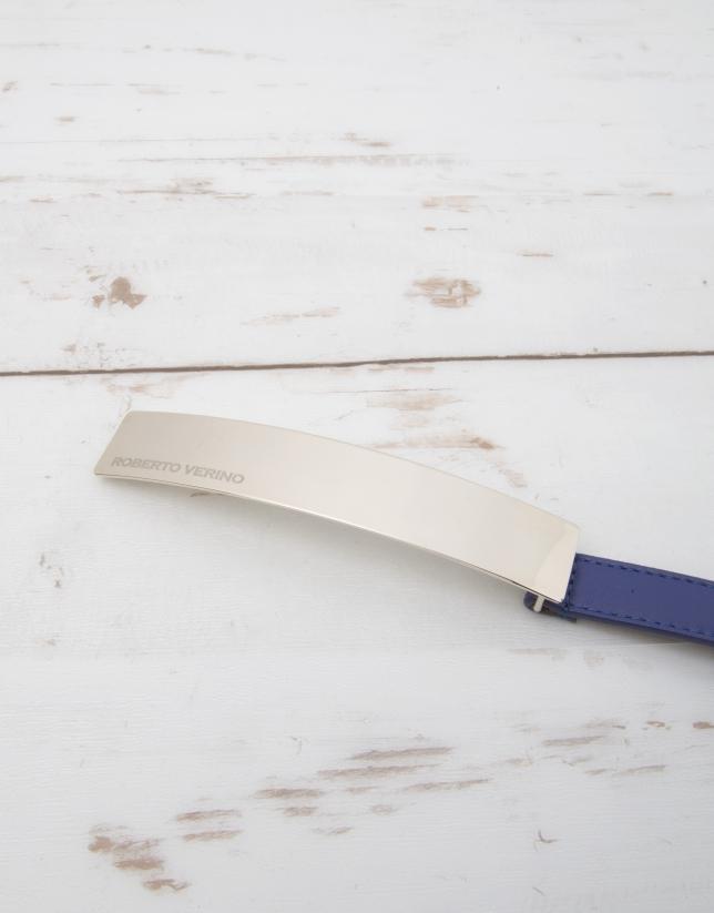Cinturón piel azul
