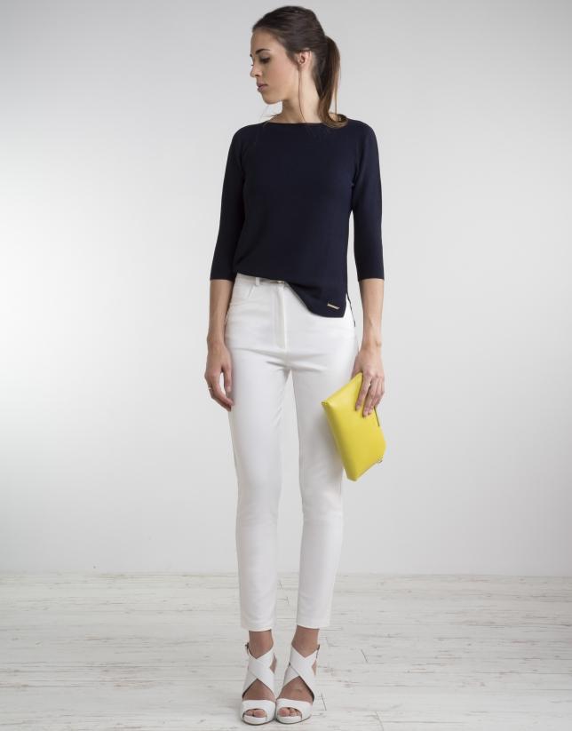 Pantalon Blanc Cassé Taille Haute - Femme | Roberto Verino