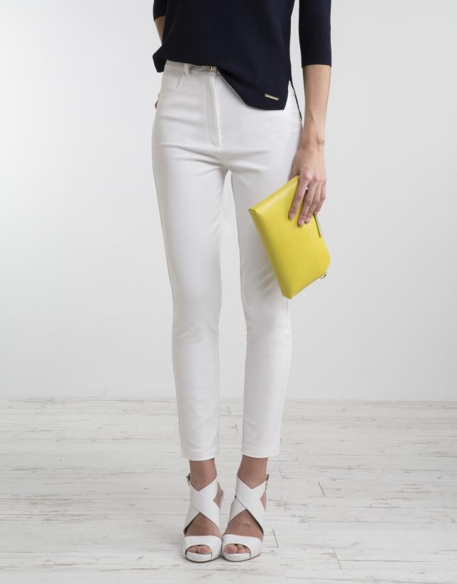 Pantalón tiro alto blanco crudo