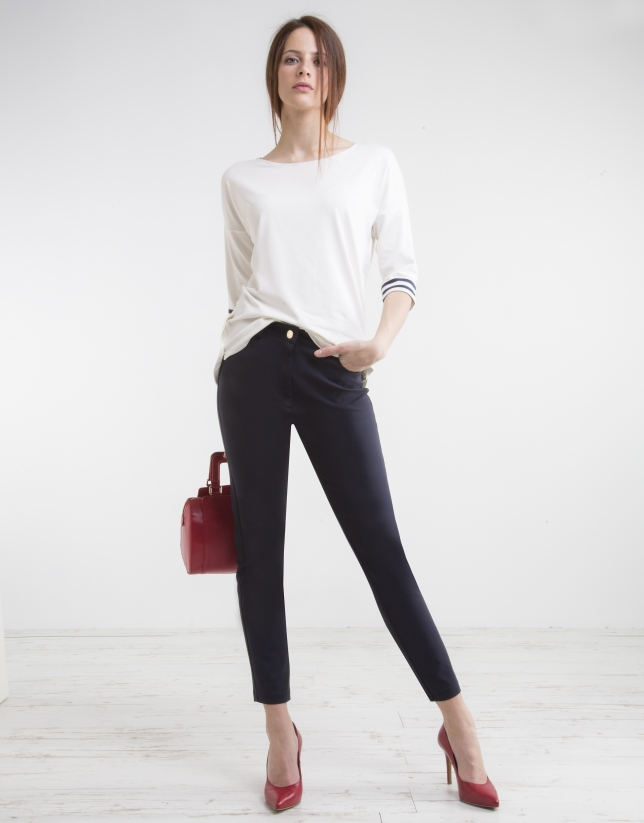 Navy blue high waist pants