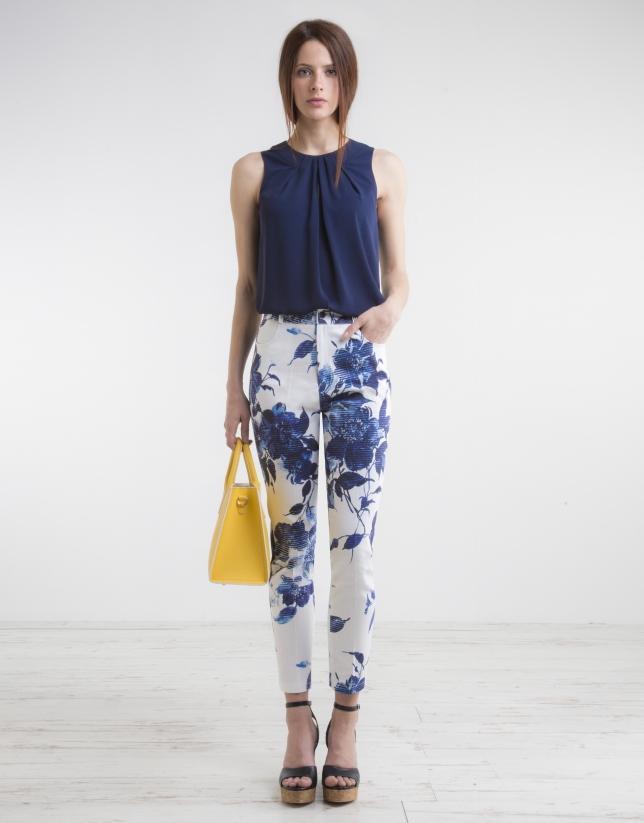 Pantalon taille haute, imprimé floral