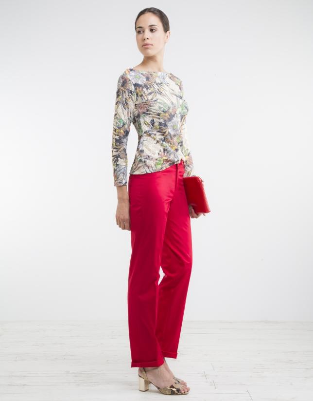 Pantalon cinq poches rouge