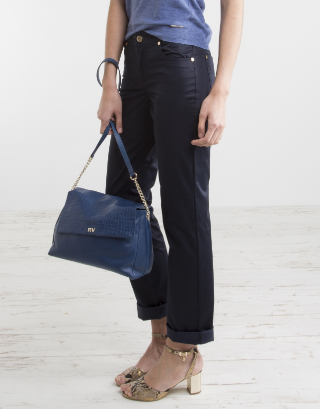 Navy blue pants with five pockets