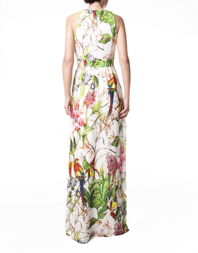 Long parrot print dress