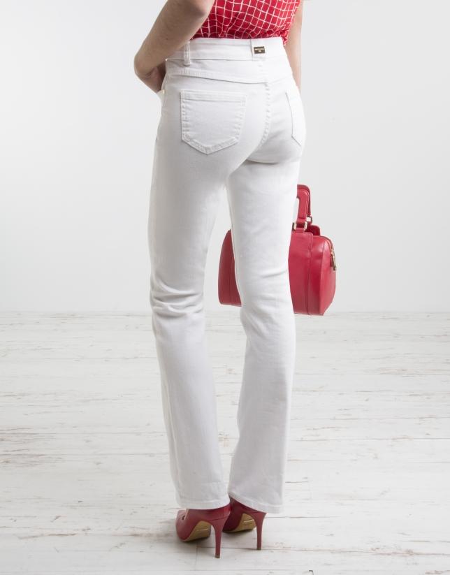 Pantalón corte acampanado blanco