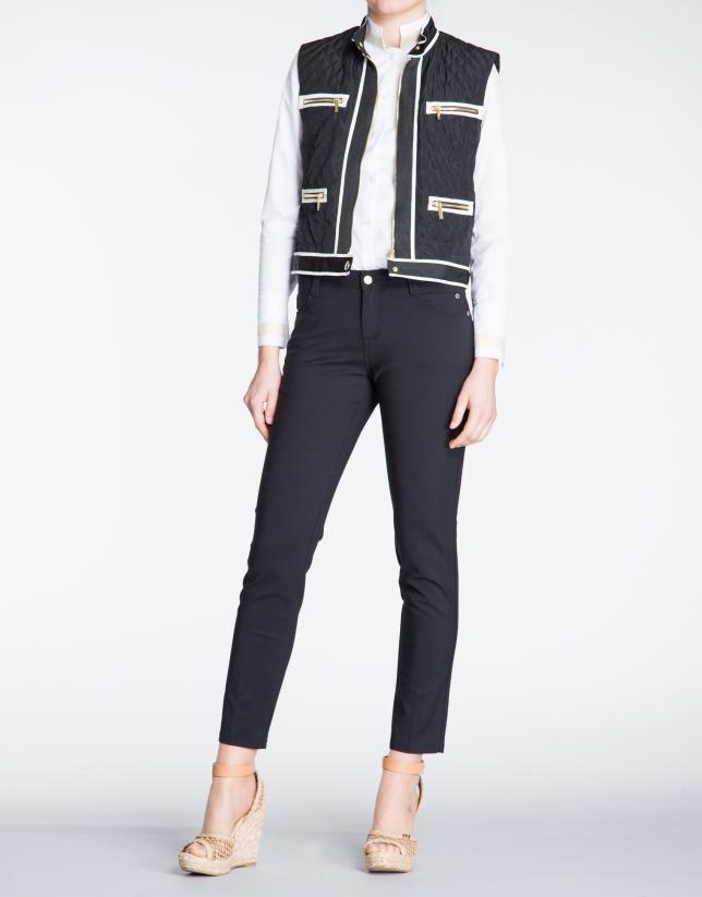 Black zippered vest