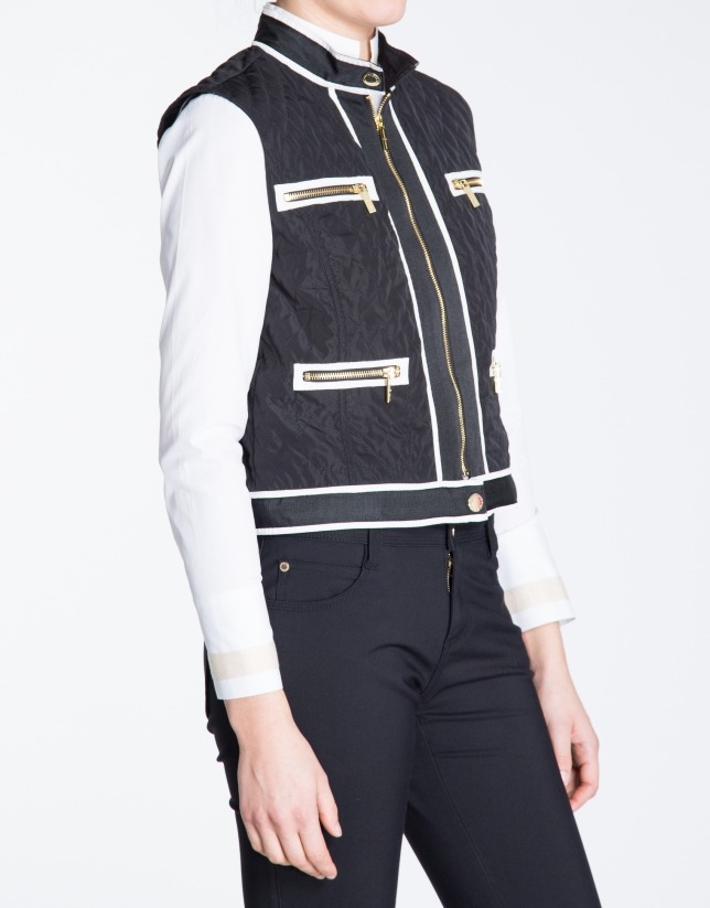 Black zippered vest
