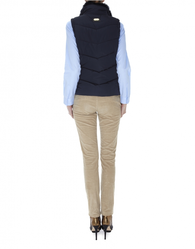 Midnight blue quilted vest with fur collar