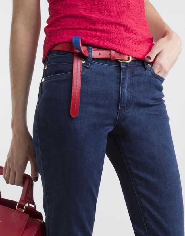 Pantalón denim bolsillos fantasía