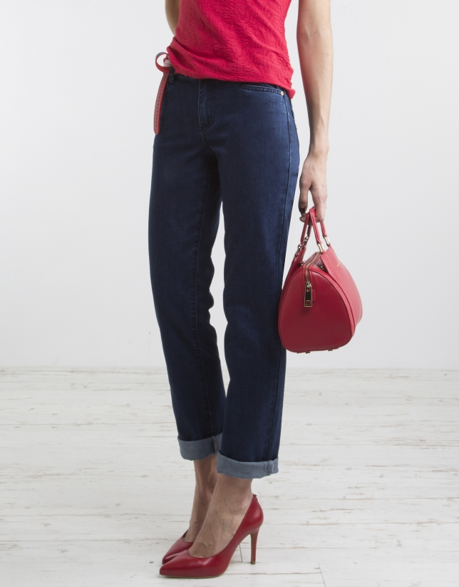 Denim pants with decorated pockets