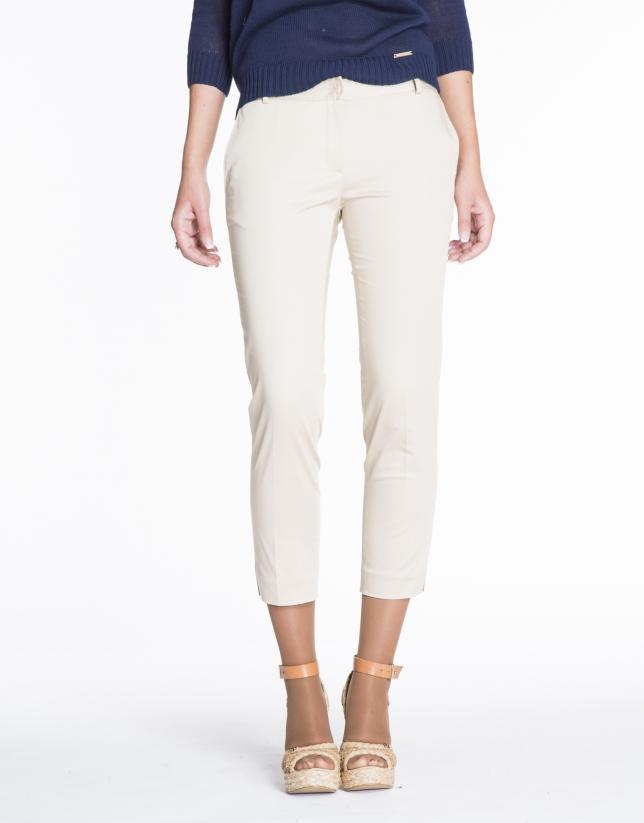 Pantalon fuselé beige