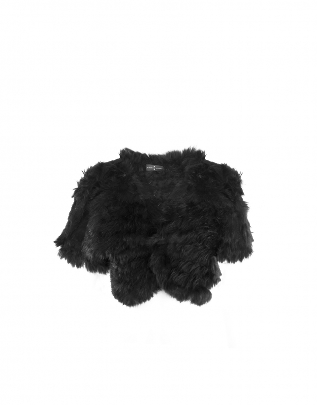 Black rabbit fur bolero jacket