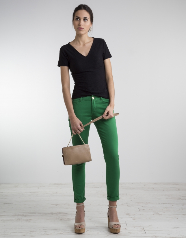 Green stretch pants