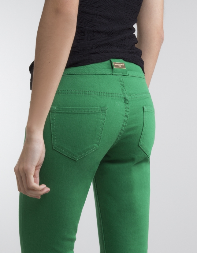 Pantalon stretch vert