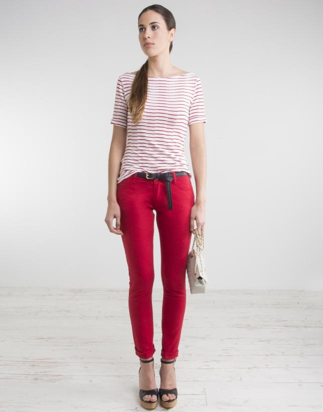 Pantalon stretch rouge