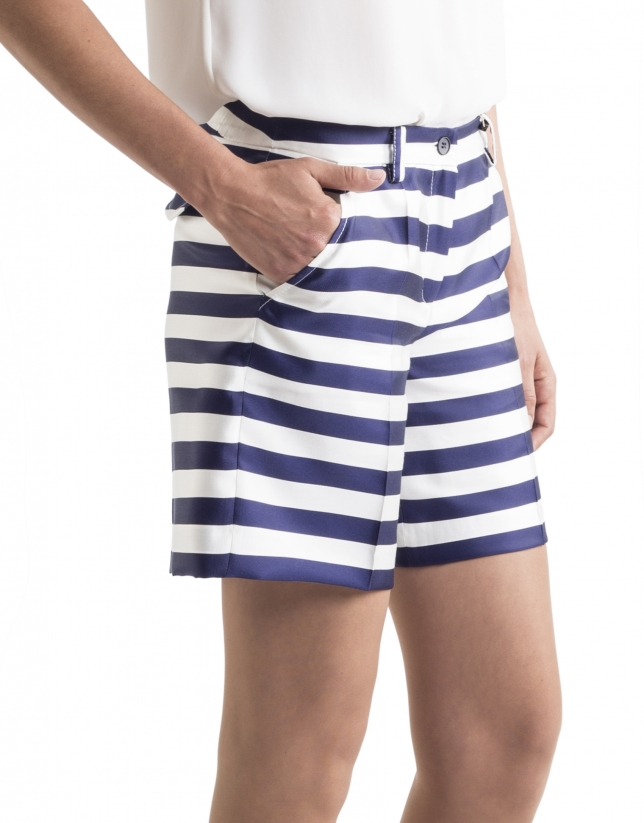 Blue striped bermudas