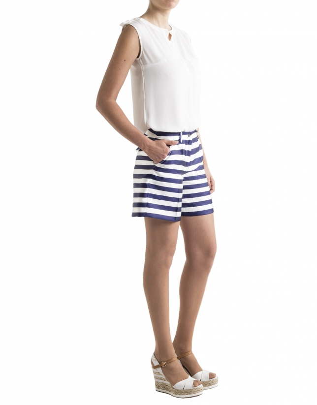 Blue striped bermudas