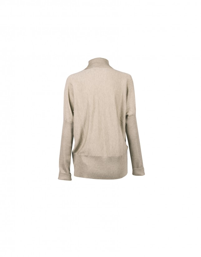 Beige roll collar pullover