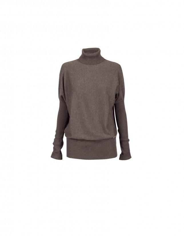 Taupe roll collar pullover
