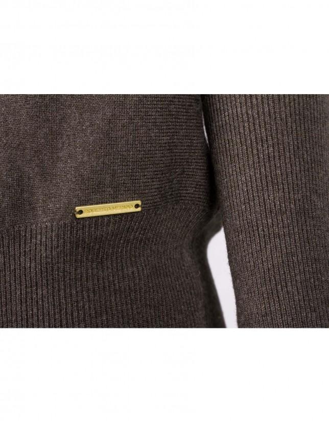 Jersey cisne marrón manga abullonada