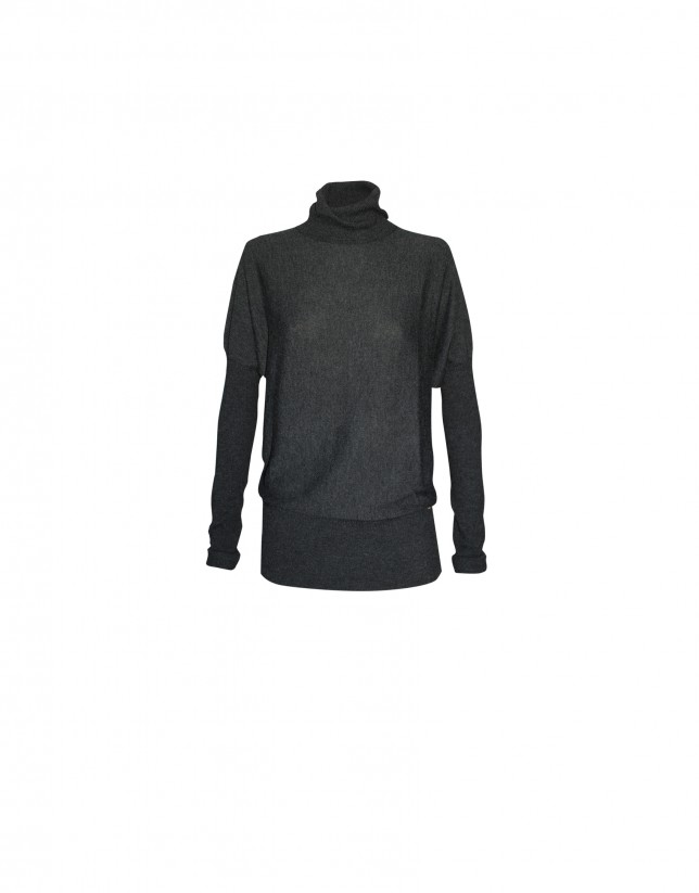 Grey roll collar pullover