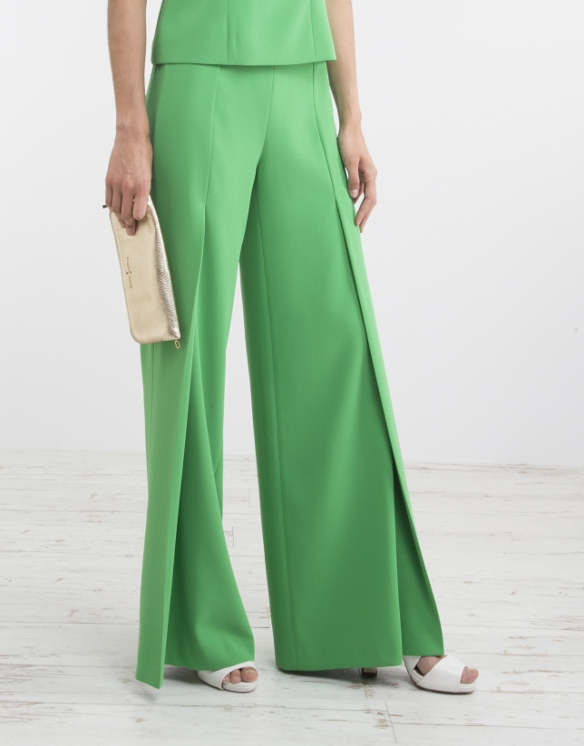 Pantalon palazzo vert