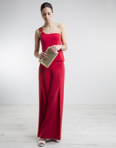 Red wide pants