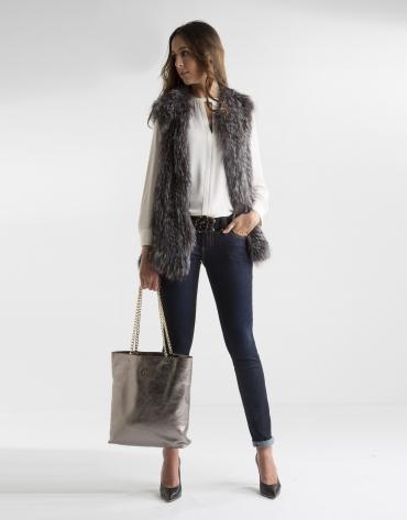 Gray fox vest