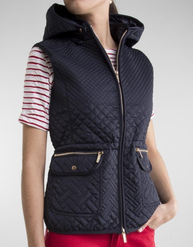 Blue vest with hood