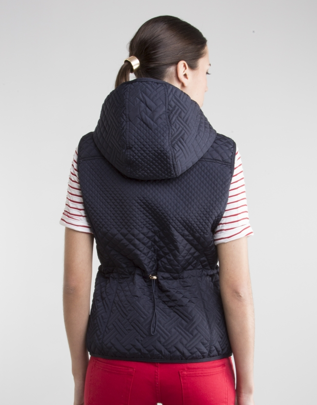 Blue vest with hood