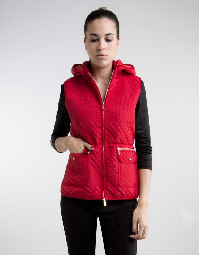 Red vest with hood