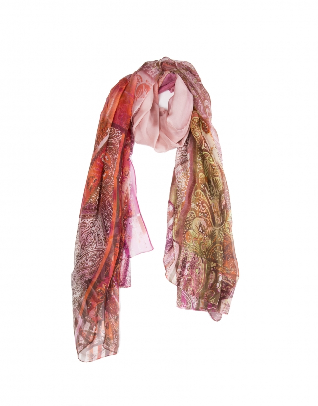 Geometric floral print scarf