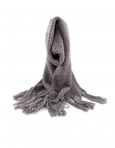 Echarpe tricot couleur taupe à franges